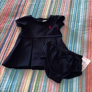 Ralph Lauren blue pleated infant dress.